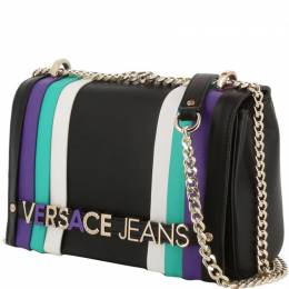 Versace Jeans Black Synthetic Leather Chain Crossbody Bag 224360