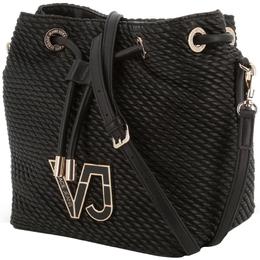 Versace Jeans Black Signature Synthetic Leather Drawstring Shoulder Bag 224365