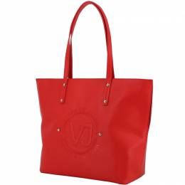 Versace Jeans Red Synthetic Leather Logo Shopping Tote 224383