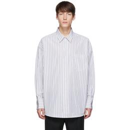 Ami Alexandre Mattiussi White Striped Oversized Shirt 192482M19201503GB