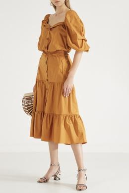 Хлопковое платье горчичного цвета Johanna Ortiz 2942150648