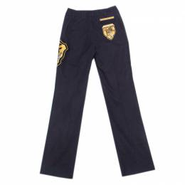 GF Ferre Navy Blue Cotton Crest Applique Detail Straight Fit Trousers S Gianfranco Ferre