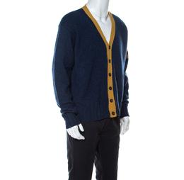 Dolce&Gabbana Blue Wool V-Neck Stripe Detail Cardigan XXL