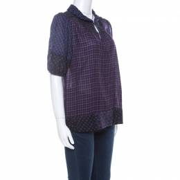 Marc By Marc Jacobs Multicolor Wool & Silk Blend Mixed Print Puff Sleeve Polo Shirt L 223926