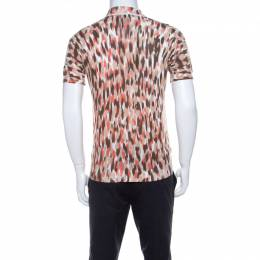 Roberto Cavalli Class Brown Ikkat Leopard Print Cotton Polo T-Shirt S 222387