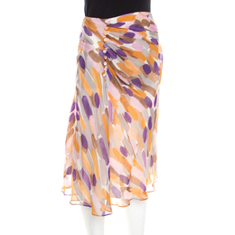 Escada Multicolor Brushstroke Print Silk Ruched Front Flared Skirt M 201114