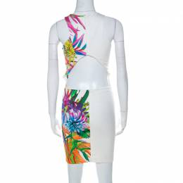 Just Cavalli Multicolor Digital Floral Print Jersey Cut Out Back Bodycon Dress S 224018