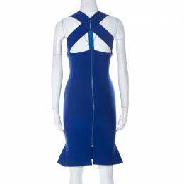 Roland Mouret Cobalt Blue Stretch Knit Sleeveless Bodycon Dress S 223624