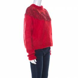 Christopher Kane Red Mohair Wool Blend Lace Applique Sweater L 223851
