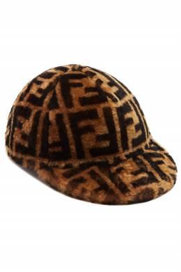 Коричневая фактурная кепка Fendi 1632150516
