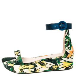 Stuart Weitzman Multicolor Botanic Jacquard Fabric Capri Ankle Strap Platform Sandals Size 38 225465