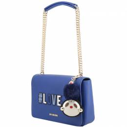Love Moschino Blue Pebbled Synthetic Leather Shoulder Bag Raymond Weil 224236