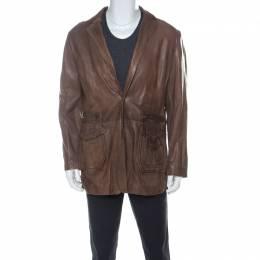 Just Cavalli Brown Leather Pleated Yoke Detail Jacket 5XL 223913