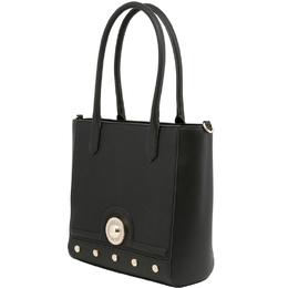 Versace Jeans Black Synthetic Leather Studded Shoulder Bag 224284