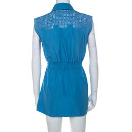 Louis Vuitton Blue Cotton Poplin Cutwork Detail Sleeveless Shirt Dress S 224985