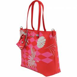 Versace Jeans Red Print Synthetic Leather Tote Bag 224279