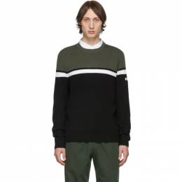 A.P.C. Green and Black Mick Crewneck Sweater 192252M20100902GB