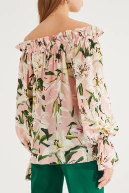 Розовая блузка с оборками и рисунками Dolce&Gabbana 599151034