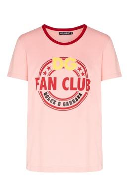 Розовая футболка с контрастной отделкой Dolce&Gabbana 599150998