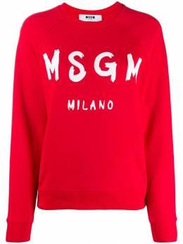 MSGM свитер в рубчик с круглым вырезом и логотипом 2742MDM189195799