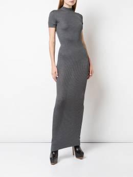 Vera Wang - трикотажное платье макси в рубчик 9K609556693500000000