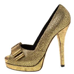 Fendi Metallic Gold Brocade Fabric Deco Bow Peep Toe Platform Pumps Size 39