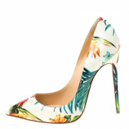 Christian Louboutin Multicolor Hawaii Floral Print Leather So Kate Pumps Size 38