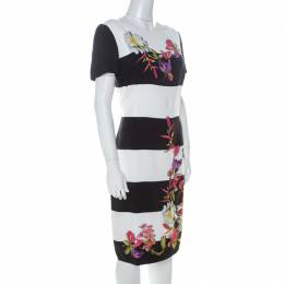 Escada Monochrome Floral Print Wide Striped Crepe Dkantus Shift Dress M