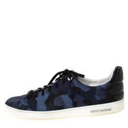 Louis Vuitton Blue Camouflage Fabric Frontrow Low Top Sneakers Size 43.5