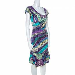 Roberto Cavalli Multicolor Printed Jersey Ruched Peplum Hem Detail Dress S