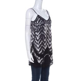 Just Cavalli Black & White Chevron Print Lace Trim Long Camisole Top S 224519