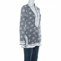 Tory Burch Indigo Blue & White Cotton Printed Grosgrain Trimmed Tunic S