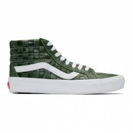 Vans Green Leather Check Reissue VI Sk8-Hi Sneakers 192739M23602204GB