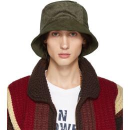 Engineered Garments Green Corduroy Bucket Hat 192175M14000201GB