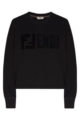 Черный свитшот с меховой аппликацией Fendi 1632151552