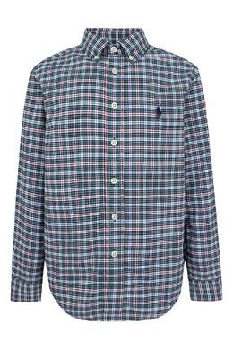 Зеленая рубашка в клетку Ralph Lauren Kids 1252151634