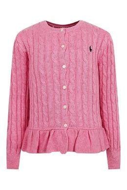 Розовый вязаный кардиган с баской Ralph Lauren Kids 1252151894