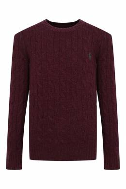 Бордовый свитер с вязаным узором Ralph Lauren Kids 1252151928