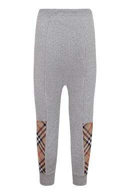 Серые брюки-джоггеры с комбинированными вставками Burberry Kids 1253151760