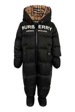 Черный комбинезон с логотипом для ребенка Burberry Kids 1253151764