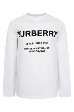Белый лонгслив с логотипом Burberry Kids 1253151778
