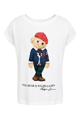 Белая футболка с фирменным принтом Ralph Lauren Kids 1252151753