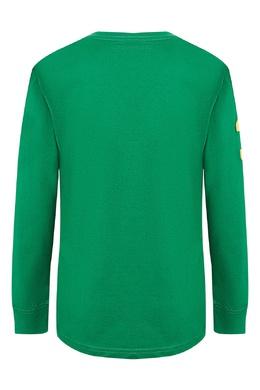 Зеленый лонгслив с контрастной отделкой Ralph Lauren Kids 1252151781