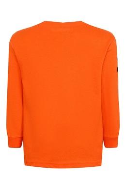 Оранжевый лонгслив с контрастной отделкой Ralph Lauren Kids 1252151783