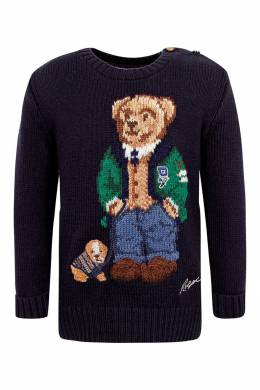 Темно-синий свитер с вязаным рисунком Ralph Lauren Kids 1252151922