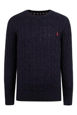 Черный свитер с вязаным узором Ralph Lauren Kids 1252151924