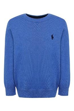 Голубой свитер с вышивкой Ralph Lauren Kids 1252151925