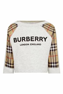 Серый свитшот с контрастными вставками Burberry Kids 1253151612