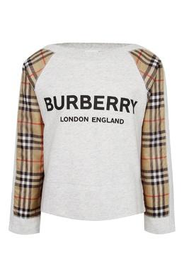 Серый свитшот с контрастными рукавами Burberry Kids 1253151613