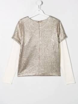 Twin-Set - блузка со складками и эффектом металлик GJ036595595933000000